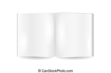 livro, abertos, páginas, em branco