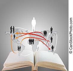 livro, abertos, rede, estrutura, social