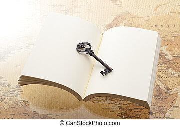 livro, abertos, tecla