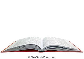 livro, abertos, vermelho