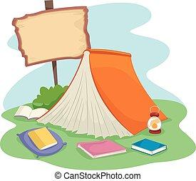 livro, acampamento, chão