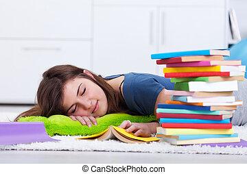 livro, adormecido, adolescente