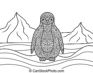 livro, adultos, pingüim, coloração, vetorial
