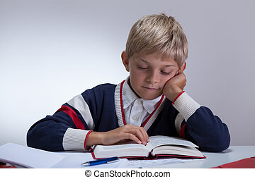 livro, aluno, escrita