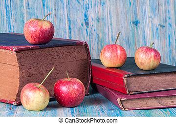 livro, antigas, maçã, vermelho