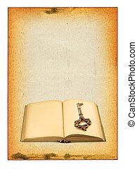 livro, antigas, tecla