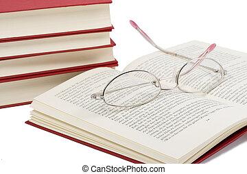 livro, aquilo, óculos
