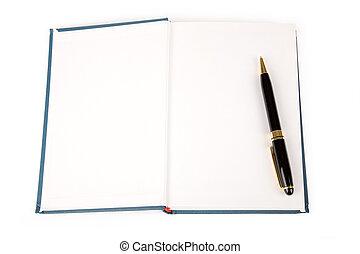 livro azul, e, caneta