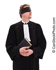 livro, blindfold, advogado, segurando
