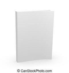 livro branco, cobertura, vazio, 3d
