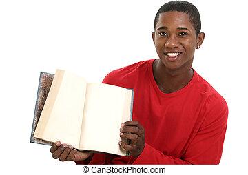 livro, casual, homem