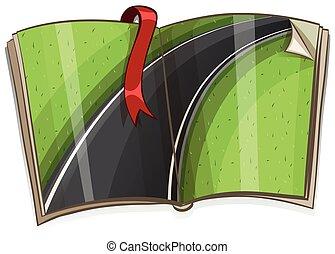 livro, cena, estrada