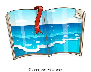 livro, cena, oceânicos