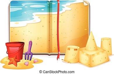 livro, cena praia