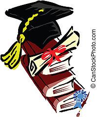 livro, chapéu, graduação, certificado