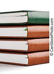 livro, closeup, pilha, vista