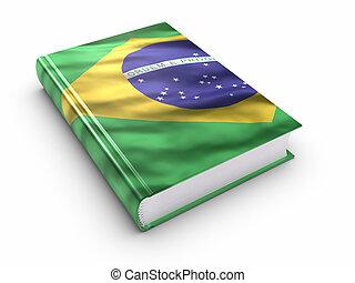 livro, coberto, com, bandeira brasileira