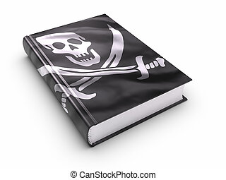 livro, coberto, com, piratas, bandeira