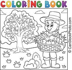 livro, colheita, agricultor, coloração