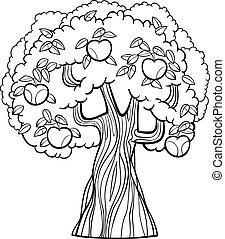 livro, coloração, árvore, maçã, caricatura