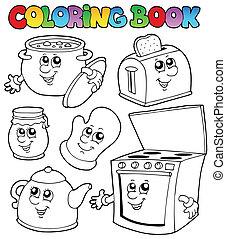 livro, coloração, desenhos animados, cozinha