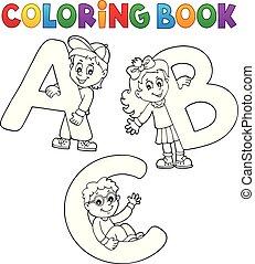 livro, coloração, letras, abc, crianças