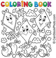 livro, coloração, papagaios, três