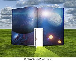 livro, com, ficção científica, cena, e, abertos, entrada,...