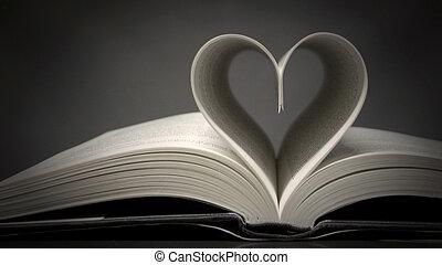 livro, com, forma coração