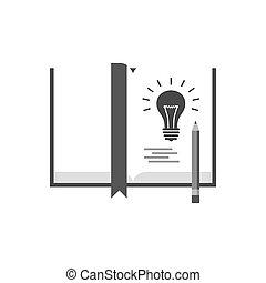 livro, com, lightbulb, nota, a, idéia, conceito, icon., símbolo, em, trendy, apartamento, estilo, isolado, branco, experiência.