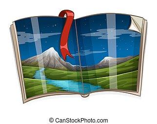 livro, com, montanha, cena