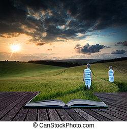 livro, conceito, paisagem, meninos jovens, andar, através, colheita, campo, em, pôr do sol