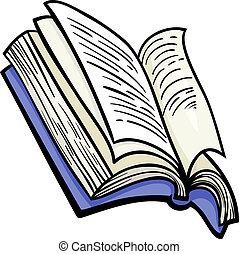 livro, corte arte, caricatura, ilustração