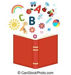livro crianças, abertos, ícones