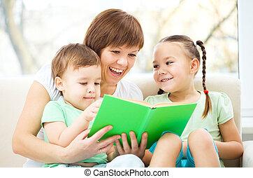 livro, crianças, leitura, dela, mãe