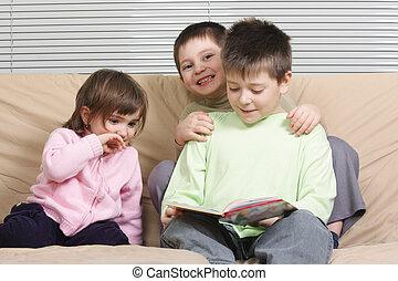 livro, crianças, leitura, três
