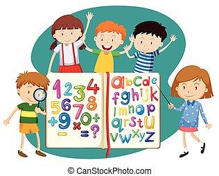 livro, crianças, matemática, inglês