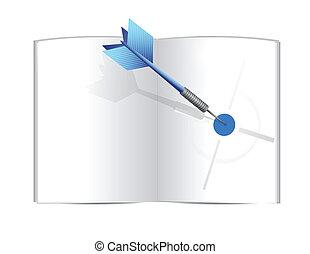 livro, desenho, alvo, ilustração