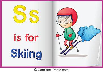 livro, desenho, esquiando