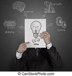 livro, diagrama, homem negócios, mostrando, idéia, grande