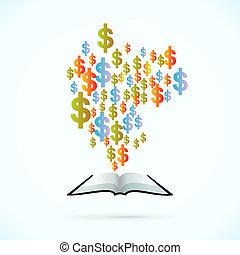 livro, dinheiro