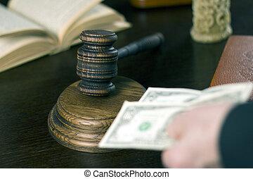livro, dinheiro, justiça, concept., vela, mão., juiz, lei, gavel, teable
