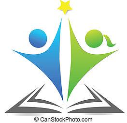 livro, e, crianças, gráfico, logotipo