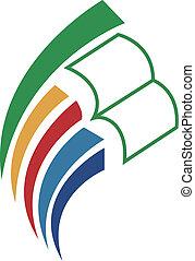livro, &, eduque, logotipo, ícone