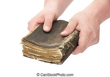 livro, em, mãos