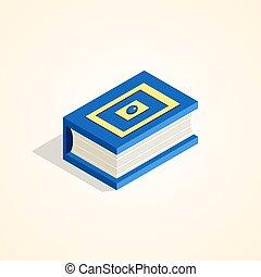 livro, em, um, isometric, style.