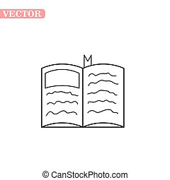 livro, esboço, ícone, estilo, experiência., branca, símbolo, aberta, isolado, livros, vetorial, estoque, illustration.