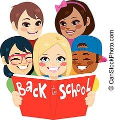 livro escolar, costas, crianças