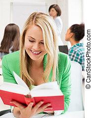 livro escolar, estudante, leitura menina, sorrindo