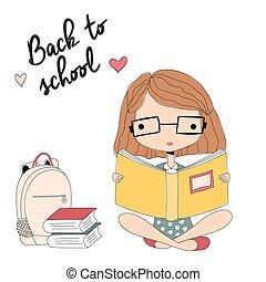livro escolar, jovem, costas, leitura menina, óculos